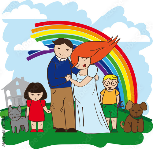 In de dag Regenboog happy family rich house