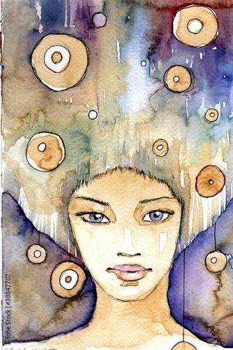 Poster Inspiration painterly portret w kolorze indygo