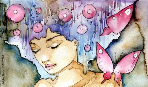 Recess Fitting Painterly Inspiration kolorowy poretret z motylami