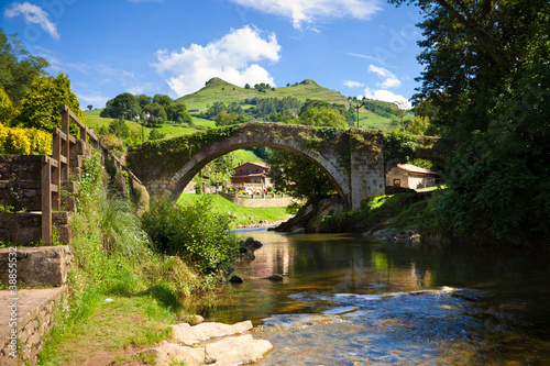 Old bridge over Miera river in Lierganes town. Cantabria