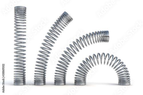 Fotografie, Obraz  metal springs 3d render illustration