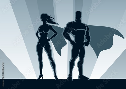 Door stickers Superheroes Superhero Couple