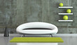 canvas print picture Wohndesign - modernes Sofa vor Betonwand