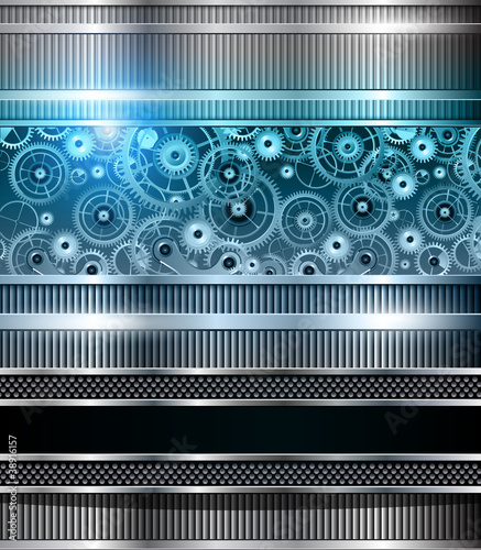 Abstract technology background blue metallic