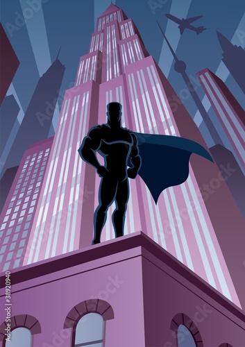 Poster Superheroes Superhero in City