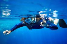 Scuba Diver Woman In  Blue Wat...