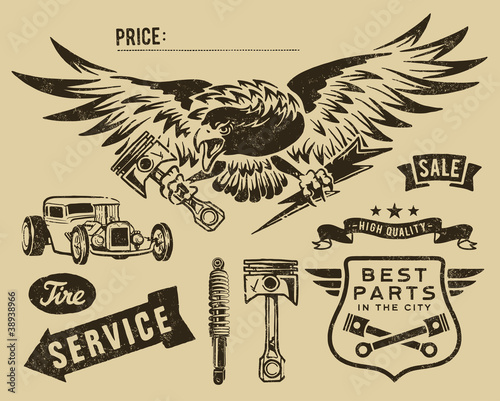 Fotomural Vintage eagle and auto-moto parts