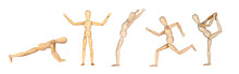 Jointed Wooden Mannequin Doing Different Positions