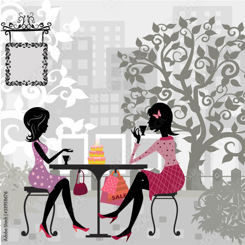 girl in a summer cafe and cake - 38958676