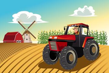 Farmer koji se vozi traktorom