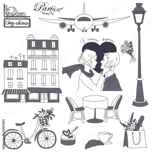 In de dag Doodle Paris travel