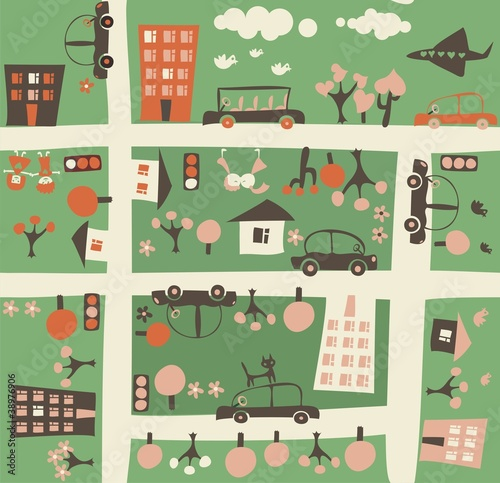 Poster de jardin Route cartoon seamless map