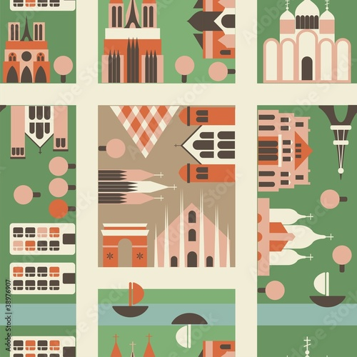 Wall Murals On the street seamless european city in vector