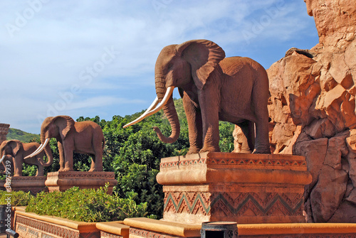 statue of elephants in Lost City, South Africa Poster