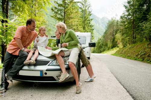 Fotografia, Obraz  Travel - family with camping car on the road