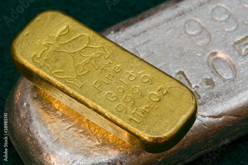 Fotografia, Obraz  Gold and Silver Bullion Bars - Poured Ingots