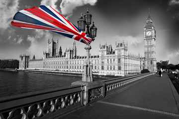 Naklejka Big Ben with flag of England, London, UK