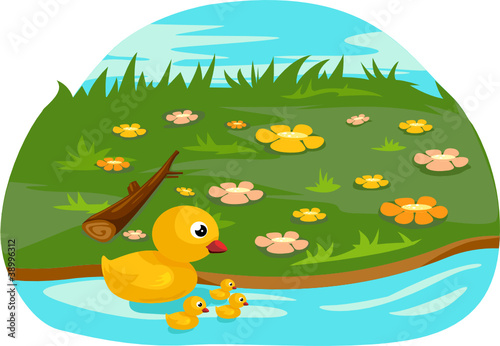 Printed kitchen splashbacks River, lake Duck family