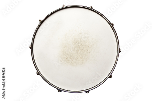 Fotografia Snare drum top view isolated on white