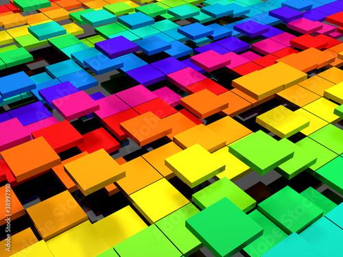 Fototapety, obrazy: Colorful dynamic square background
