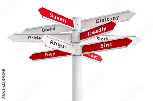 Seven Deadly Sins On Crossroads Sign Fotobehang