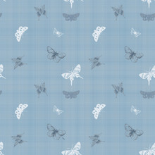 Seamless Butterfly Blue Fabric Background Wallpaper
