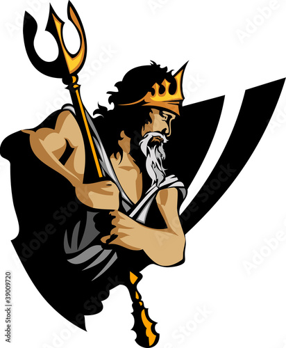 Photo  Titan Mascot with Trident and Crown Graphic Vector Illustration