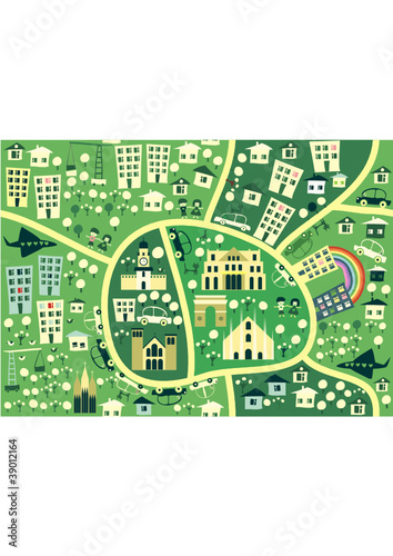 Poster de jardin Route cartoon seamless map of milan