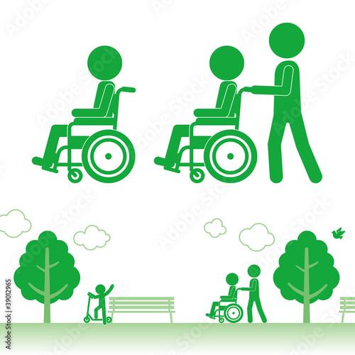 Fotografia, Obraz  車椅子でお散歩