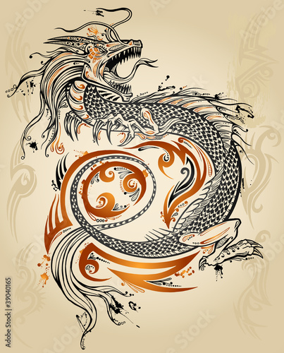 Fotografie, Tablou  Dragon Doodle Sketch Tattoo Icon Tribal grunge Vector
