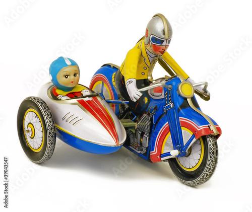 Poster Motocyclette Motorradgespann Blechspielzeug