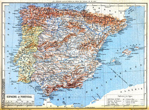 Garden Poster World Map The map of Spain and Portugal