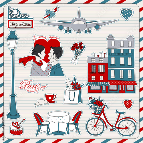 In de dag Doodle Paris travel icons