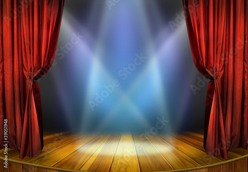 Fotografija  Theater stage with red curtains and spotlights
