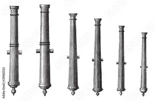 Foto Six different types of cannon vintage engraving
