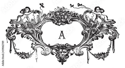 Fotografia, Obraz An ornament with two cherubs vintage engraving