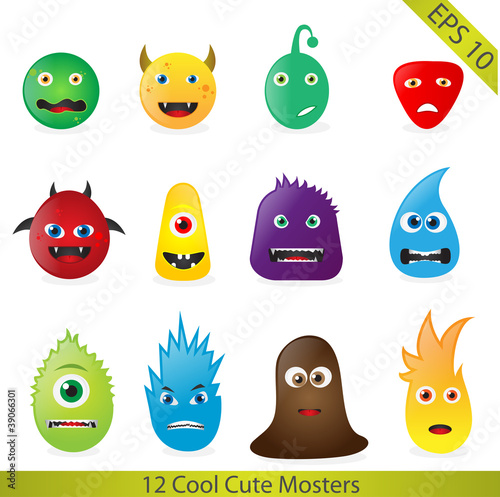 Foto op Aluminium Schepselen Cute Monsters