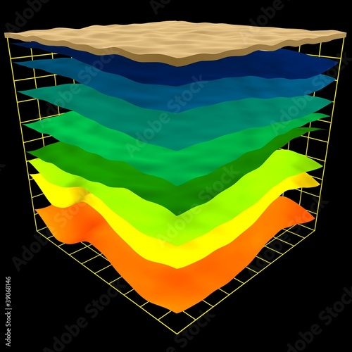 Carta da parati abstract geology layers scheme, 3d render isolated on black