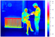 canvas print picture - thermal imaging of a radiator and a couple with tea pot