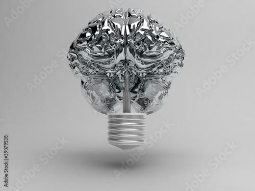 Photo cervello 3d lampadina energia intelligente