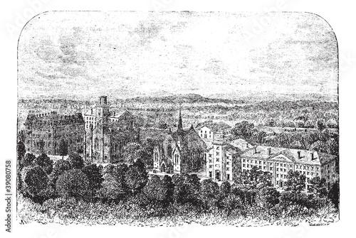 Photo  Wesleyan University in Middletown United States vintage engravin