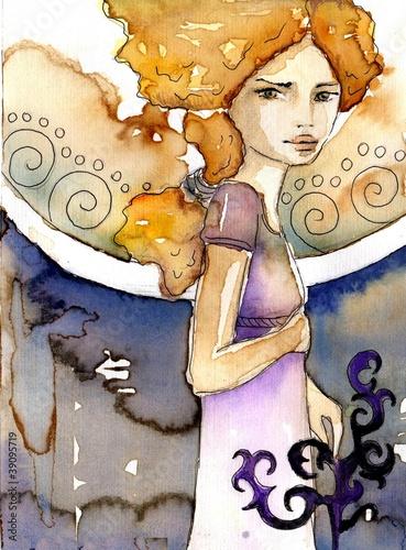 Poster Inspiration painterly pięna blondynka art deco