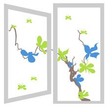 Open Window Bush Blue And Green Flowers