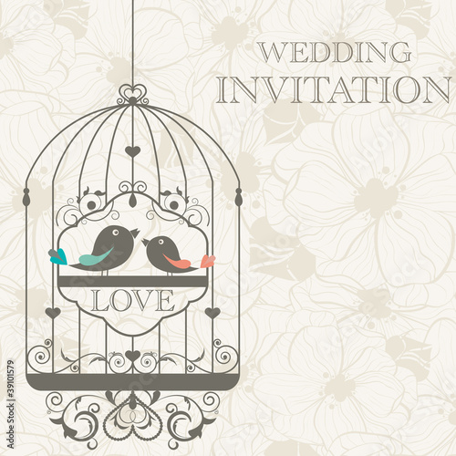 Fotobehang Vogels in kooien Wedding invitation