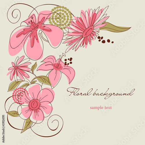 Deurstickers Abstract bloemen Floral background