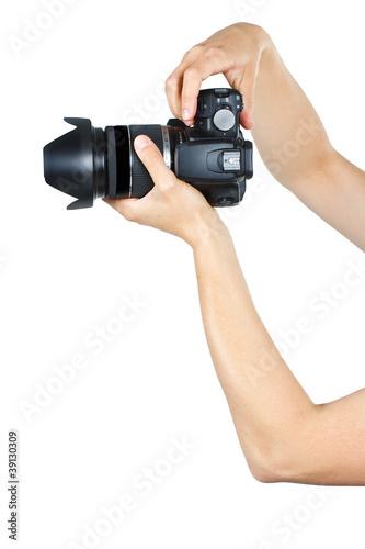 Fototapeta Female hands holding a camera obraz na płótnie