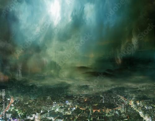 Fotografie, Obraz Endzeitstimmung / Weltuntergang - Düstere Stadt in der Zukunft