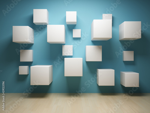 Abstract cubes in interior