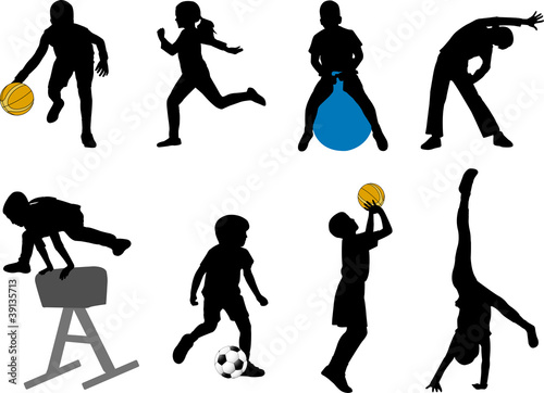 Photo children sport silhouettes