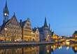 canvas print picture - Gent Belgien Häuser am Graslei Hafen